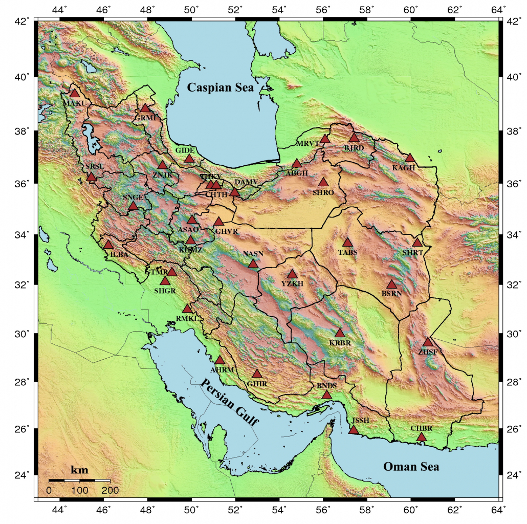 Distribution of existing Seismic stations operated by National Center of Broadband Seismic Network of Iran in 2016