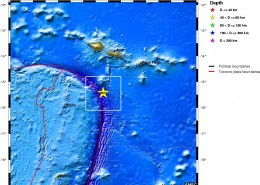 مرکز سطحی زمین لرزه هفتم مهر 1388(بیست ونهم سپتامبر 2009) ،جزایر ساموا،  اقیانوس آرام