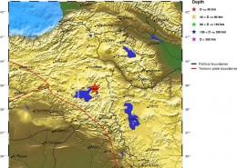 مرکز سطحی زمين لرزه اول آبان 1390(بیست و سوم اکتبر 2011)منطقه وان ترکیه     با بزرگای 3/7MW=