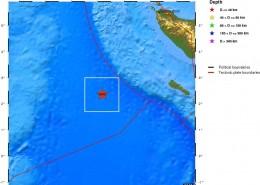 مرکز سطحی زمين لرزه بیستم و سوم فروردین 1391 (یازدهم آوریل 2012)  ساحل باختری شمال سوماترای اندونزی، با بزرگای 6/8MW=