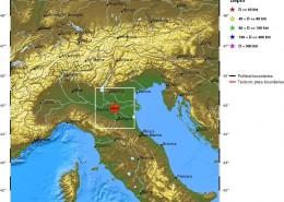 مرکز سطحی زمین لرزه سی ویکم اردیبهشت ماه 1391(بیستم مه 2012)، شمال ایتالیا
