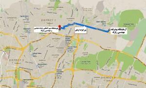 موقعیت قرارگیری آزمایشگاه پیشرفته مهندسی زلزله در منطقه سوهانک تهران