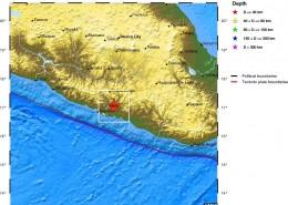 مرکز سطحی زمين لرزه سی ام مردادماه 1392 (بیست و یکم اوت 2013 میلادی)  شمال، شمال باختری سان مارکوس، مکزیک، با بزرگای 2/6MW=