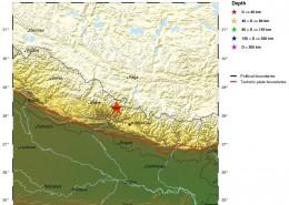 مرکز سطحی زمين لرزه پنجم اردیبهشتماه 1394(بیست و پنجم آوریل 2015)  خاور- جنوب خاوری لامجونگ نپال، با بزرگای 8/7MW=