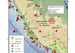 مرکز سطحی زمين لرزه 15 اوت 2007 ميلادی، ساحل مرکزی پرو