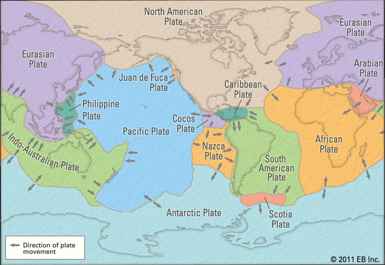 صفحه های اصلی تشکیل دهنده پوسته زمین