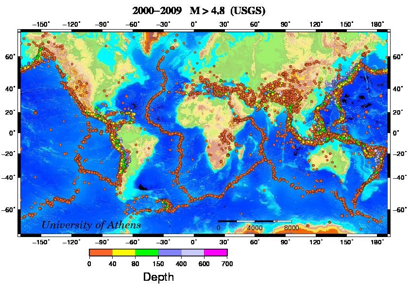 پراکندگی زمین لرزه ها با بزرگای بیش از 4.8 در بازه زمانی 2009-2000 میلادی به همراه داده های ژرفای کانونی